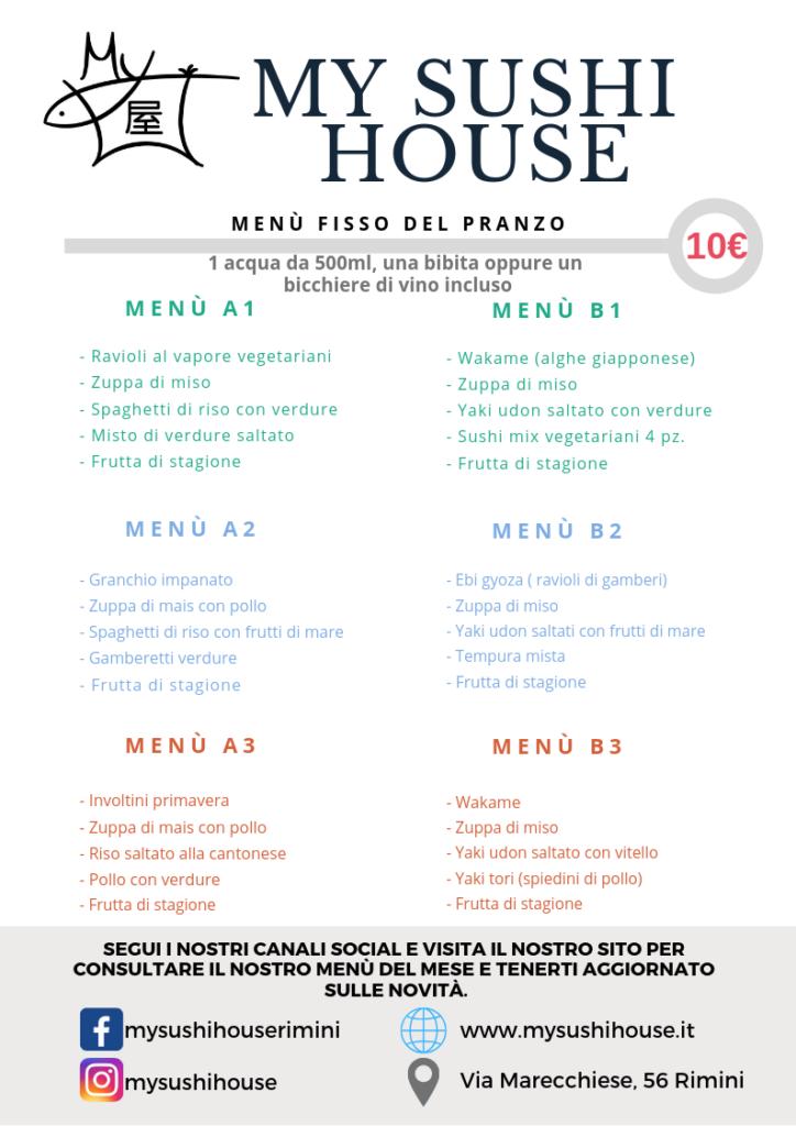 menù fisso pranzo novembre/dicembre -My Sushi House Rimini